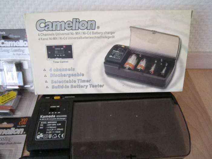 Oplader m/ubrugte batterier