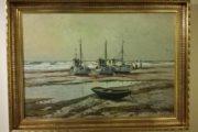 Flot maleri med fiskekutter