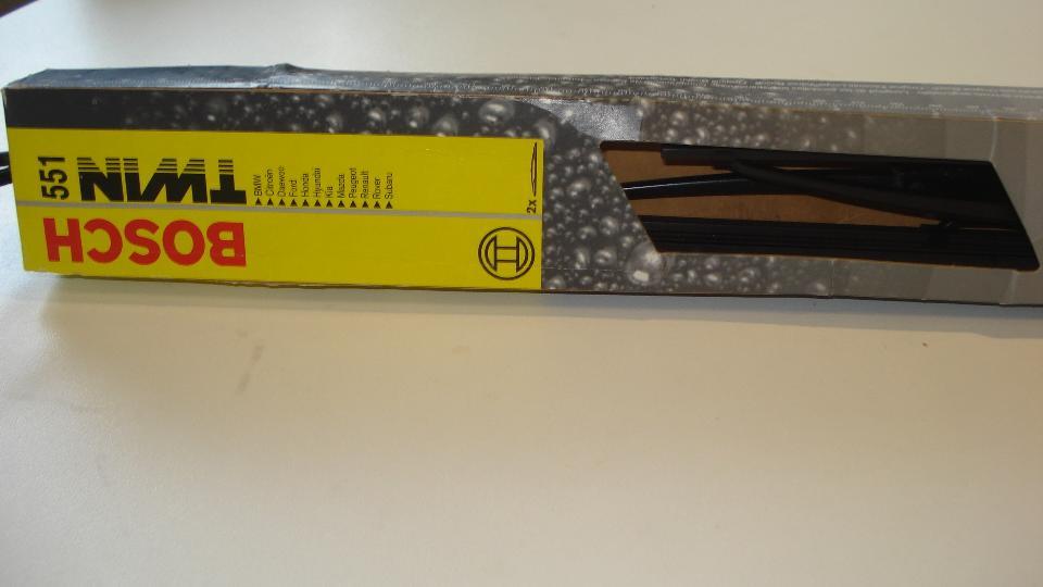 Bosch Twin 551 viskerblade - Petravej - Sæt, førerside 550 mm / passagerside 500 mm. Ny aldrig brugt i lukket emballage Nypris 210,- - Petravej