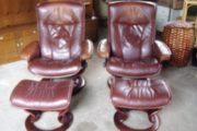 læne stole læder med fodskamme