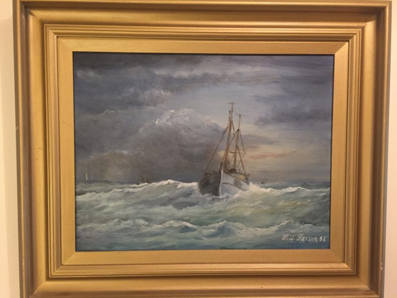 Maleri af Leif Larsen, Glyngør - Danmark - Smuk maleri af Leif Larsen fra Glyngøre. Afhentes i Skive eller Aarhus - Danmark