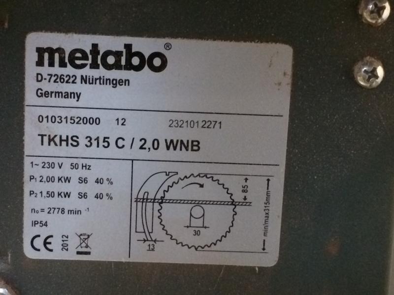 Metabo bordrundsav TKHS 315 C