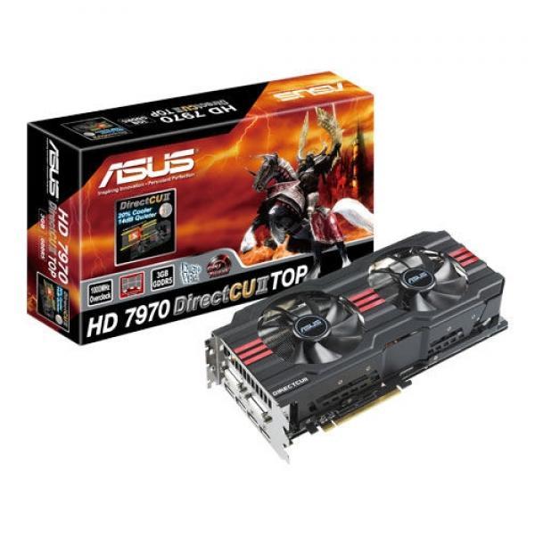 ASUS Radeon HD7970 3GB GDDR5 - ågade 16, Ramsing - Grafikkort, AMD Radeon HD 7970 Overclocked, 3 GB GDDR5, PCI Express 3.0 x16, 2 x DVI, HDMI, 4 x DisplayPort – Asus DirectCU II køler – HD7970-DC2T-3GD5 Kortet virker som det skal, og trækker stadig de mest populære spil uden pr - ågade 16, Ramsing