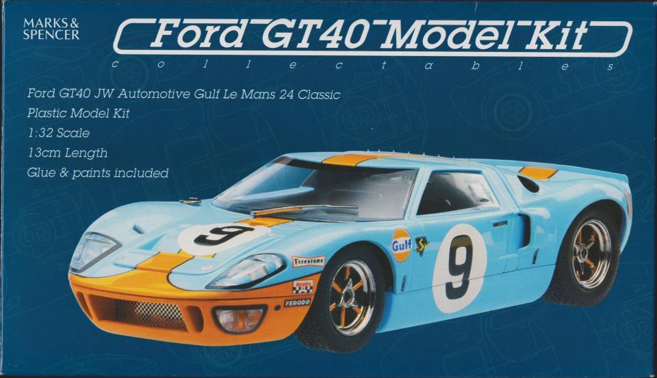 Modelbil 1/32 - Danmark - Ford GT 40 meget sjælden samlesæt m. maling ,NY - Danmark