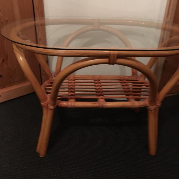 Glasbord m bambusstel
