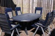 Havebord + 6 stole