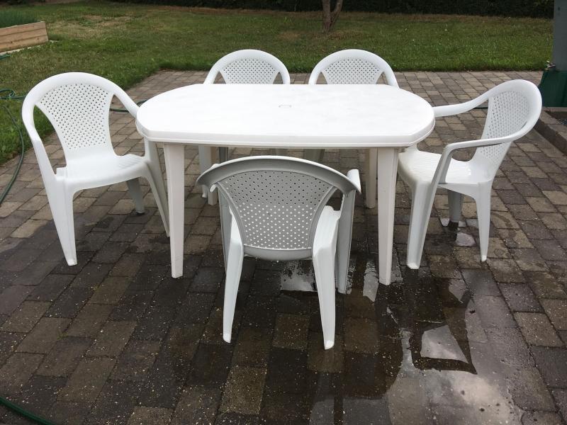 havemøbler - Ramsing - fin hvid havebord med 5 stole - Ramsing