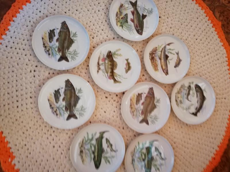 Fiske tallerkner - Hasselvej 20 - 9 stk fiske tallerkener ca 17 cm i dia.pæne og iorden, - Hasselvej 20