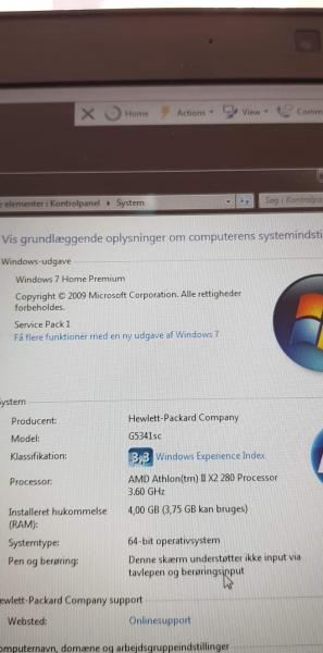 HP stationær pc pakke - Ramsing - Ho stationær med windows 7 Home Premium . 4 gb ram … amd athlon ™ IIx2 280 processor 3,60 ghz… se øvrige data på billeder…. hp tastatur… hp mus… Philips 19 tommer skærm … logitech højtalersæt… købt 16-8-2011…. ALT VIRKER - Ramsing