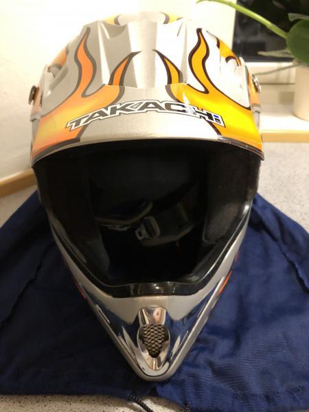 Motocross hjelm - . - Takachi motocross hjelm. Brugt få gange. Motocross briller og handsker. - .