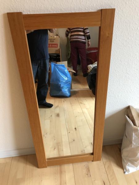 Teaktræs vægspejl