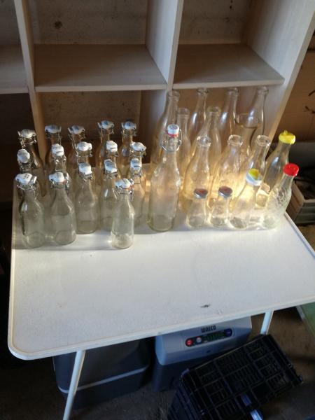 Gl flasker med prop