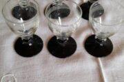 6 Glas på sort fod Holmegaard
