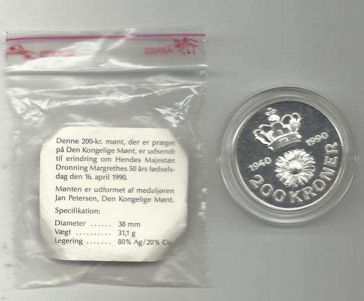 200 krones kongelig sølvmønt