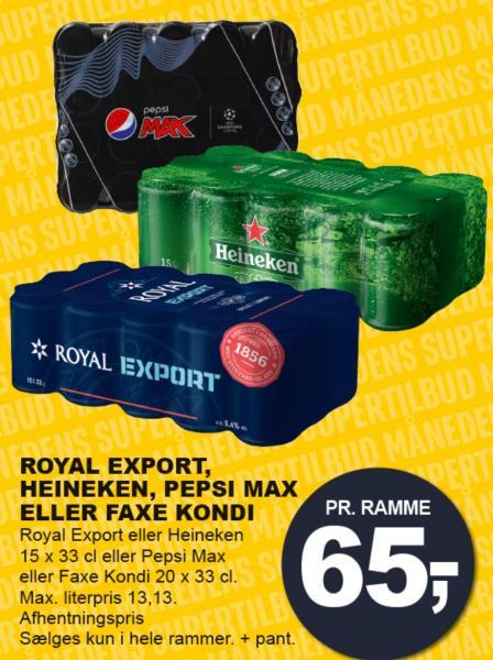 Royal export, Heineken, Pepsi Max eller Faxe Kondi