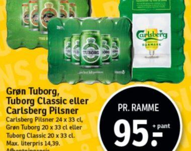 Grøn Tuborg, Tuborg Classlc eller Carlsberg Pilsner