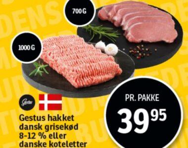 Hakket dansk grisekød eller koteletter
