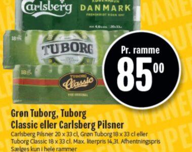 Grøn Tuborg, Tuborg Classic eller Carlsberg Pilsner