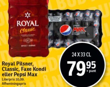 Royal Pilsner, Classic, Faxe Kondi eller Pepsi Max